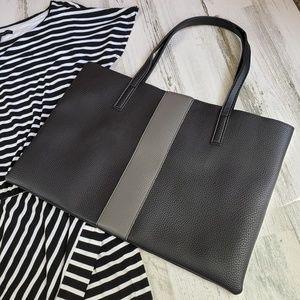 Vince camuto handbag purse tote gray stripe vegan